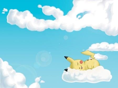 Pikachu Asleep In The Clouds - asleep, sleeping, pikachu, clouds