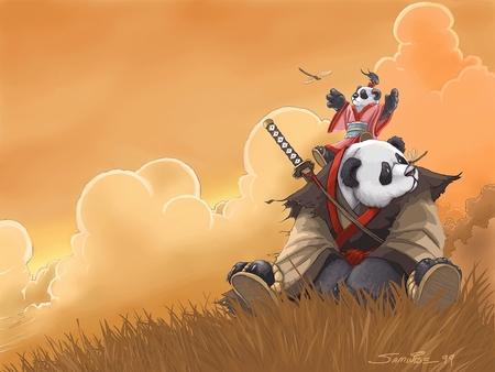 Okami in Pandaland - ronin, manga, child, panda, samurai, anime, art, pandaland