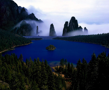 Sapphire mists - sapphire color, trees, mists, sly, lake, night