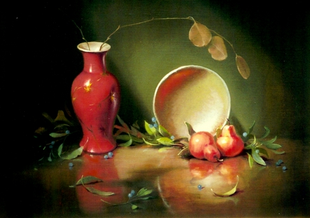 Ming Vase Still - red vase, vase, leaves, tabletop, ming vase, berries, peaches, painting, plate