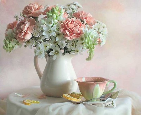 ................ Lovely Vase ................. - orange, saucer, rose, bottle, vase, towel, carnation, green, flowers, pink, table, tablecloth, wall, lemon, cup, slice, pastel, white
