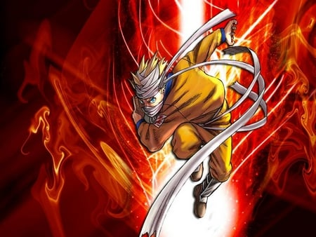 red strike - red, naruto, anime, power, attack, scroll