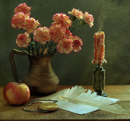 still life - apple, candle, fruits, clock, beautiful, abstract, still life, pen, flowers, letter