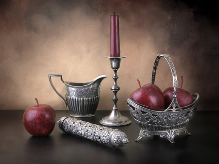 still life - apples, candles, burgundy, aristocratic, still life, abstract, silver, red