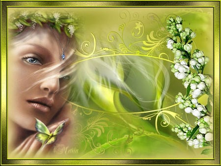 Green Spring - womanface, fantasy, butterfly, plants, flower, nature