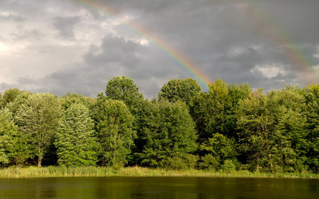 After The Rain - peaceful, rainbow, clouds, rain, grass, sky, green, beautiful, trees, lake, nature, tree