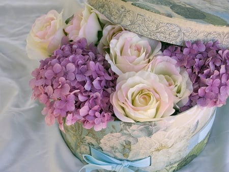 Lovely Flowers For Karyn - pretty, rose, box, beautiful, still life, flowers, pink, blue, hydrangea, lovely, white roses, colors, gift, roses, sweetwitchy, karyn, girly, purple, hat box, flower, nature, pastel, white