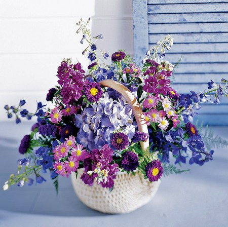 The blues - shudders, arrangement, blue table, blue, flowers, pinks, white, basket