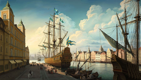 Dockside - trade, old ships, painting, harbour, old, harbor, dockside