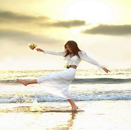 happy - sand, seashore, girl, waves, happy