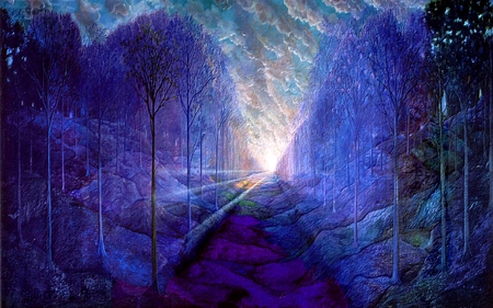 Blue Forest Fantasy Amp Abstract Background Wallpapers On
