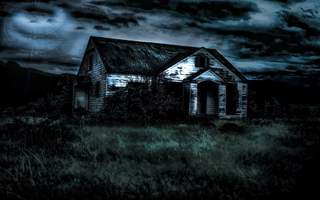 Little scary house - sky, night, black, scary, good