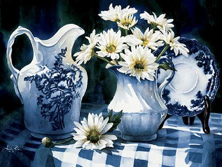Eyes for Blue - daisies, plate, plate holder, tablecloth, pitchers, blue