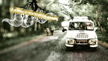 journey to jungle - art, scorpio, green, journey, car, canon, jungle
