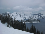 Crater lake Winter March