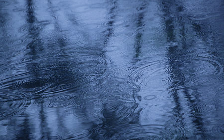 Raindrops - raindrops, photography, blue, rain