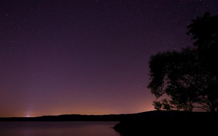 Moraine Nights - hills, stars, lake, sky, dusk, night, tree