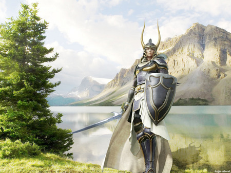 Defend our land - medieval, knight, lago, mountains, warrior, fantasy, kokyn, battle, paisaje, guerrero, landscape, fantasia