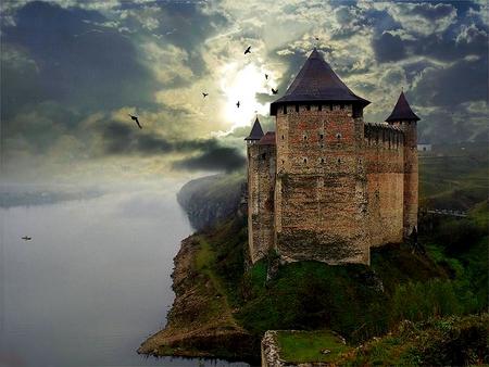 MOUNTAIN CASTLE - grass, castle, ocean, birds, sunlight, bridge, clouds, plants, mountain