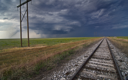 Tornado Tracks - tornado, electric, railroad, tracks, rural, field, mothership