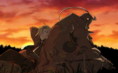 sunset - full metal alchemist, boy, anime, wallpaper
