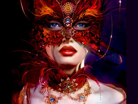 Masked Lady - carnival, colorful, girls, photography, abstract, red, eyes, jewelry, 3d cg, orange, woman, fave, female, blue, feathers, women, lips, mask, beautiful, elegant, fantasy, feather mask, blue eyes, art, black, people