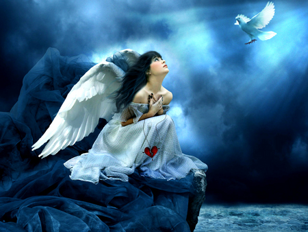 Angel Looking Up - wings, blue, rock, water, stormy, angel, bird, fantasy, clouds, female