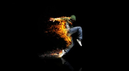 Dance - burning, boy, dancer, man, step, burn, flame, dance