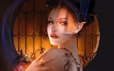 GOLD EYE - tattoo, elf, female, eye, gold
