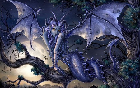 fantasy creature-sexy girl - claws, female, wings, dragon-like, yellow eyes, horns, tree, demon, fantasy, girl, prehensile tail, moonlight, scales, creature, blue