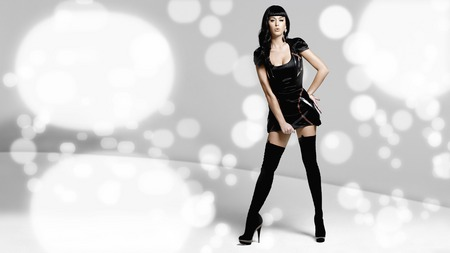 katy perry in black - female, dress, model, legs, black, heels, sexy, thighhighs, brunette, retro, abstract background, girl, katy perry, hot, perry, katy