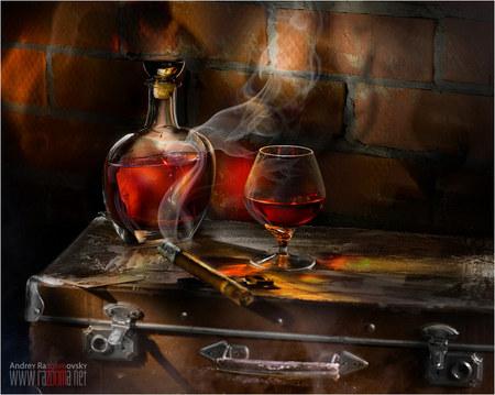 amestec - bautura, fum, pahar, tigara