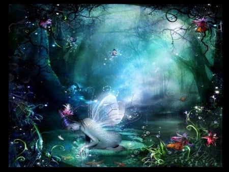 BUTTERFLY FAIRY - butterflies, forest, green, fairy