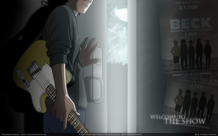 Beck - title, male, guy, beck, door, boy, guitar, anime, dark, light