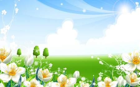 Super Happy Fun Green Valley - flowers, valley, white, fun, cartoon, green, happy
