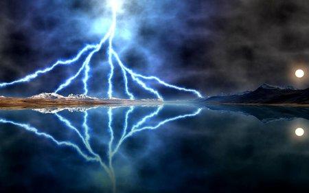 LIGHTNING STORM MOON - moon, reflection, storm, lightning