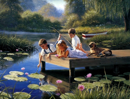 A  TIME TO PLAY - pond, children, lilypad, dog