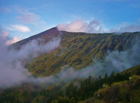 Mountain view - green, haze, mountain, sky
