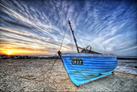Boat - colorful, blue, peaceful, sky, colors, sand, boats, nature, boat, sun, beautiful, clouds, sea, beach, rocks, sunny