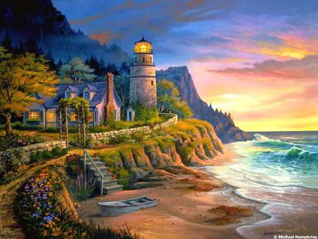 Lighthouse - house, trees, lighthouse, wave, beach, mountain, boat, water, flower pots, cliff, light, steps