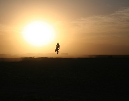 Into The Sunset Jumps Sunset Sky Motorcycle