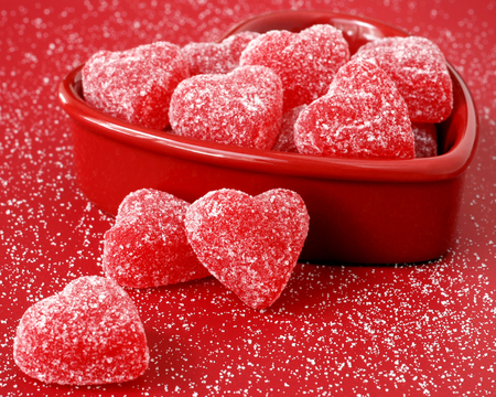 Heart Fruit Jellies - sugar, candies, soft, bowl, lollies, red