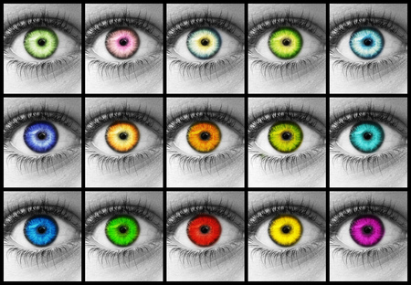 Colorful eyes - world, dark, bright, different, colors, eyes