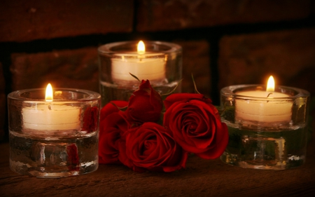Red Roses And Candles - beauty, lovely, candles, flowers, lights, pretty, red, candle, red roses, beautiful, with love, roses, nature, rose, for you, romance, still life, light, romantic, photography, red rose, candlelight, valentines day
