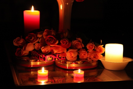 Roses,Candles And Chocolate - candle, lovely, romantic, romance, rose, chocolate, colors, beautiful, roses, candles, photography, flowers, nature, light
