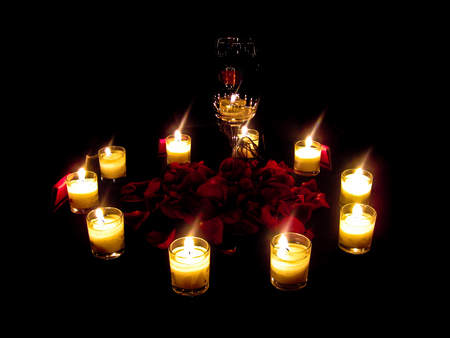 Candles And Petals - red, rose, beautiful, photography, flowers, light, red petals, candle, lovely, romantic, romance, roses, candles, glass, dark, nature, petals