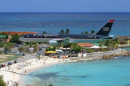 St Maarten Landing Commercial Aircraft Background