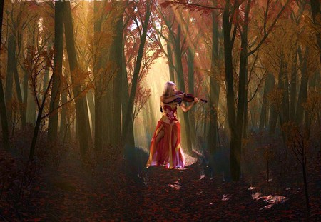 Celtic fantasy - red, forest, violin, celtic woman, dress, music, mist