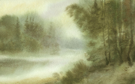 Chinese Landscape Painting In Watercolor