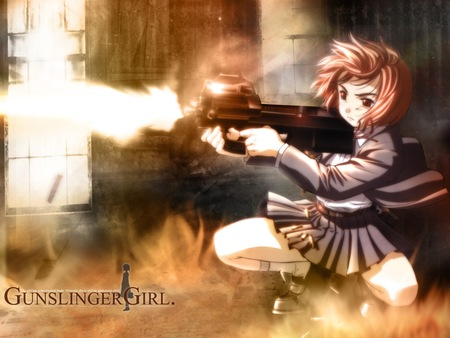 Gunslinger Girl Assault - assault, gunslinger girl, manga, girl, killer, anime, p90, cute
